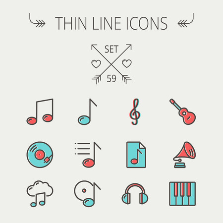 Music and entertainment thin line icon set for web and mobile. Set include-musical notes, phonograph record, g- clef, headphone, gramophone, guitar, piano icons. Modern minimalistic flat design. Vector icon with dark grey outline and offset colour on ligh