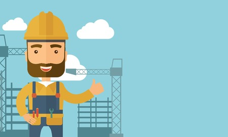 heavy industry: A construction worker standing with crane tower background. A Contemporary style with pastel palette, soft blue tinted background with desaturated clouds. Vector flat design illustration. Horizontal layout with text space in right side.