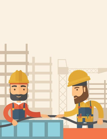 centimetres: A two hipster builders wearing hard hat for their safety ladders use for construction. A Contemporary style with pastel palette, soft beige tinted background. Vector flat design illustration. Vertical layout with text space on top part.