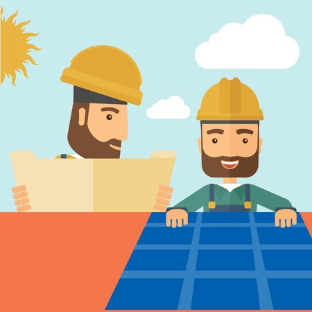 A man putting a solar panel on the roof as a alternative energy system. A Contemporary style with pastel palette, soft beige tinted background with desaturated cloud.  Vector flat design illustration. Square layout. Illustration