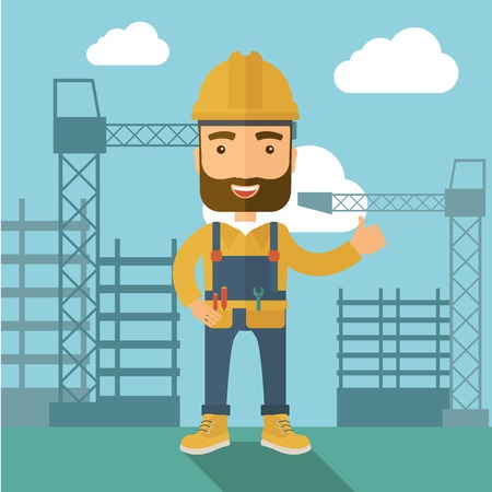 desaturated: A construction worker standing with crane tower background. A Contemporary style with pastel palette, soft blue tinted background with desaturated clouds. Vector flat design illustration. Square layout. Illustration