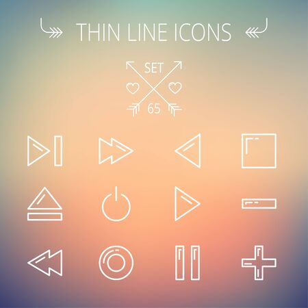 high volume: Music and entertainment thin line icon set for web and mobile. Set includes- function keys for music  icons. Modern minimalistic flat design. Vector white icon on gradient mesh background.