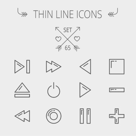 playback: Music and entertainment thin line icon set for web and mobile. Set includes- function keys for music icons. Modern minimalistic flat design. Vector dark grey icon on light grey background. Illustration