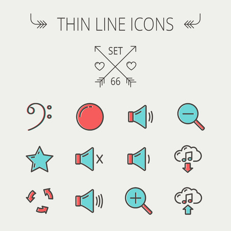 Music and entertainment thin line icon set for web and mobile. Set includes - C-clef, star, replay, stop, volume speaker icons. Modern minimalistic flat design. Vector icon with dark grey outline and offset colour on light grey background. Ilustração