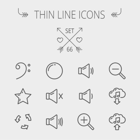 Music and entertainment thin line icon set for web and mobile. Set includes- C-clef, star, replay, stop, volume speaker icons. Modern minimalistic flat design. Vector dark grey icon on light grey background.