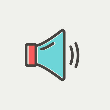 max: Medium speaker volume icon thin line for web and mobile, modern minimalistic flat design. Vector icon with dark grey outline and offset colour on light grey background.
