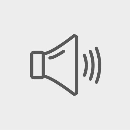speaker: High speaker volume icon thin line for web and mobile, modern minimalistic flat design. Vector dark grey icon on light grey background.