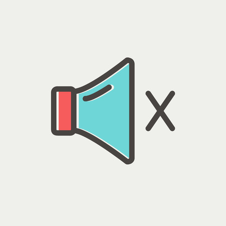 abort: Mute sound icon thin line for web and mobile, modern minimalistic flat design. Vector icon with dark grey outline and offset colour on light grey background.