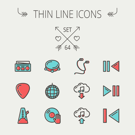 metronome: Music and entertainment thin line icon set for web and mobile. Set includes -metronome, guitar pick, upload and download, earphone, disco ball, cassette player, music button icons. Modern minimalistic flat design. Vector icon with dark grey outline and of Illustration
