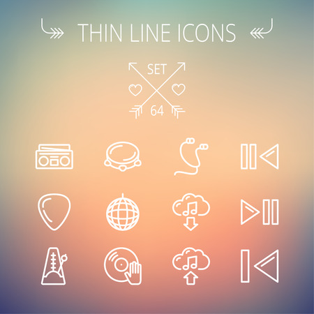 guitar pick: Music and entertainment thin line icon set for web and mobile. Set includes-metronome, guitar pick, upload and download, earphone, disco ball, cassette player, music button icons. Modern minimalistic flat design. Vector white icon on gradient mesh backgro Illustration