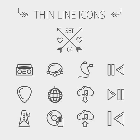 Music and entertainment thin line icon set for web and mobile. Set includes- metronome, guitar pick, upload and download, earphone, disco ball, cassette player, music button icons. Modern minimalistic flat design. Vector dark grey icon on light grey backg