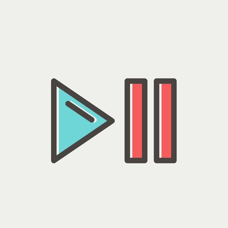 pause button: Play, pause button icon thin line for web and mobile, modern minimalistic flat design. Vector icon with dark grey outline and offset colour on light grey background.