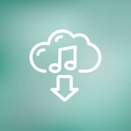 mediator: Music downloading icon thin line for web and mobile, modern minimalistic flat design. Vector white icon on gradient mesh background.