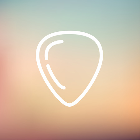 minimal: Guitar pick icon thin line for web and mobile, modern minimalistic flat design. Vector white icon on gradient mesh background.