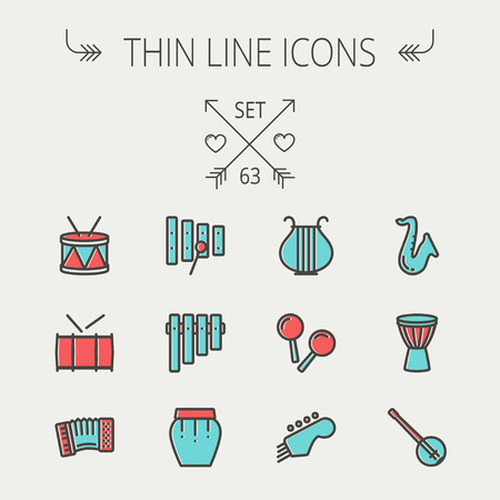 violin player: Music and entertainment thin line icon set for web and mobile. Set includes - xylophone, tuner, saxophone, banjo, maracas, organ, lyre icons. Modern minimalistic flat design. Vector icon with dark grey outline and offset colour on light grey background.