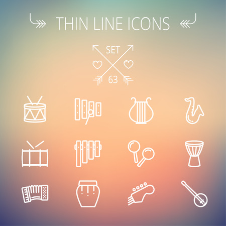 multimedia icons: Music and entertainment thin line icon set for web and mobile. Set includes-xylophone, tuner, saxophone, banjo, maracas, organ, lyre icons. Modern minimalistic flat design. Vector white icon on gradient mesh background.