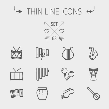 tuner: Music and entertainment thin line icon set for web and mobile. Set includes- xylophone, tuner, saxophone, banjo, maracas, organ, lyre icons. Modern minimalistic flat design. Vector dark grey icon on light grey background.
