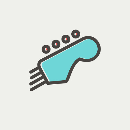 guitar tuner: Guitar tuner icon thin line for web and mobile, modern minimalistic flat design. Vector icon with dark grey outline and offset colour on light grey background.