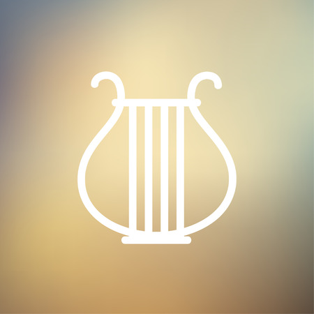 conservatory: Lyre icon thin line for web and mobile, modern minimalistic flat design. Vector white icon on gradient mesh background.
