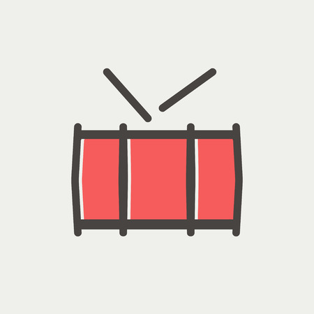 Snatre drum icon thin line for web and mobile, modern minimalistic flat design. Vector icon with dark grey outline and offset colour on light grey background.