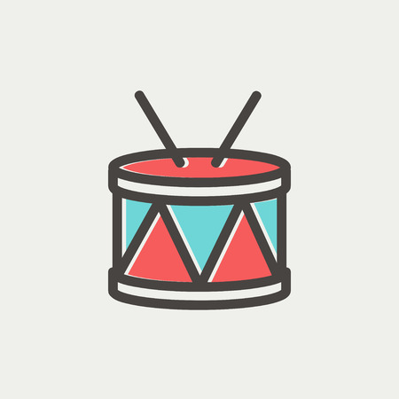 Drum with stick icon thin line for web and mobile, modern minimalistic flat design. Vector icon with dark grey outline and offset colour on light grey background.