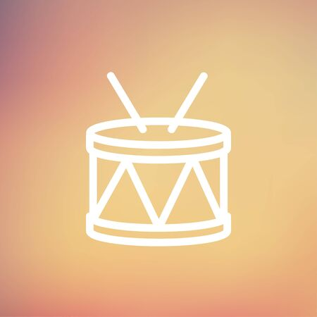 drumming: Drum with stick icon thin line for web and mobile, modern minimalistic flat design. Vector white icon on gradient mesh background. Illustration