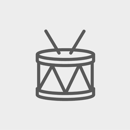 drumming: Drum with stick icon thin line for web and mobile, modern minimalistic flat design. Vector dark grey icon on light grey background.