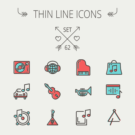 piano: Music and entertainment thin line icon set for web and mobile. Set include-Phonograph turntable, trumpet, piano, guitar, headphone, tambourine, car music   icons. Modern minimalistic flat design. Vector icon with dark grey outline and offset colour on lig