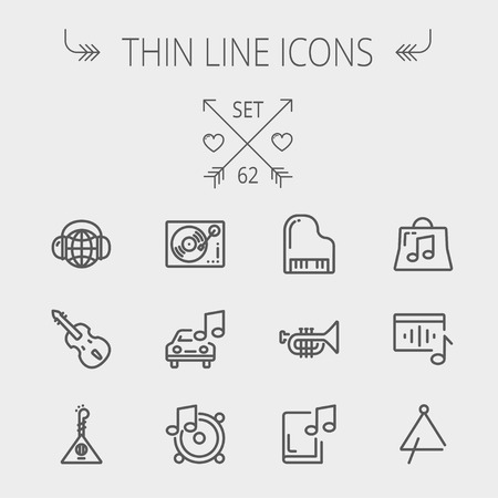 line design: Music and entertainment thin line icon set for web and mobile. Set includes-Phonograph turntable, trumpet, piano, guitar, headphone, tambourine, car music icons. Modern minimalistic flat design. Vector dark grey icon on light grey background.