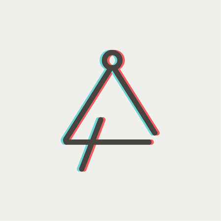 Triangle icon thin line for web and mobile, modern minimalistic flat design. Vector icon with dark grey outline and offset colour on light grey background. Illustration