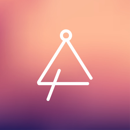Triangle icon thin line for web and mobile, modern minimalistic flat design. Vector white icon on gradient mesh background. Illustration
