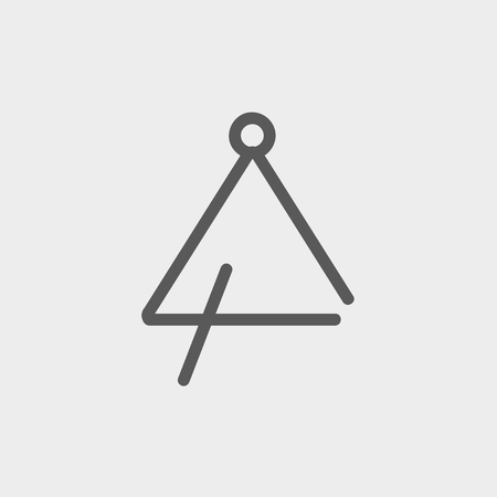 grabber: Triangle icon thin line for web and mobile, modern minimalistic flat design. Vector dark grey icon on light grey background.