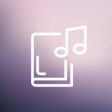music book: Music book icon thin line for web and mobile, modern minimalistic flat design. Vector white icon on gradient mesh background.