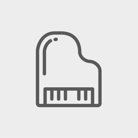ebony: Piano icon thin line for web and mobile, modern minimalistic flat design. Vector dark grey icon on light grey background.