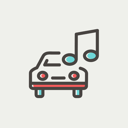 hi fi: Car with music icon thin line for web and mobile, modern minimalistic flat design. Vector icon with dark grey outline and offset colour on light grey background. Illustration