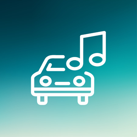 hi fi system: Car with music icon thin line for web and mobile, modern minimalistic flat design. Vector white icon on gradient mesh background.