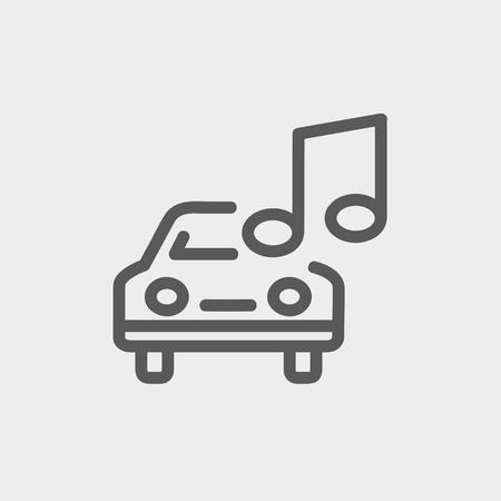 hi fi system: Car with music icon thin line for web and mobile, modern minimalistic flat design. Vector dark grey icon on light grey background. Illustration