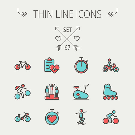 Sports thin line icon set for web and mobile. Set includes -stopwatch, skatboeard, bicycle, mountain bike, motorbike, roller skate, heart and time, winners  icons. Modern minimalistic flat design. Vector icon with dark grey outline and offset colour on li Vector