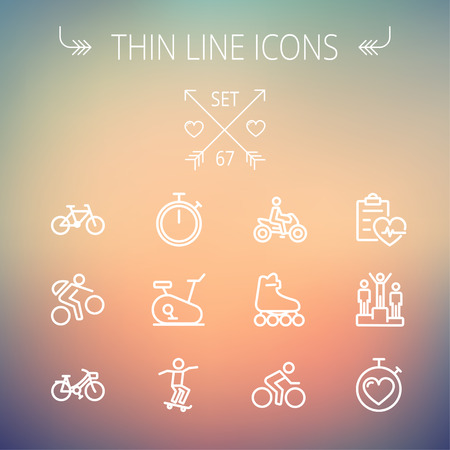 waterpolo: Sports thin line icon set for web and mobile. Set includes- stopwatch, skatboeard, bicycle, mountain bike, motorbike, roller skate, heart and time, winners icons. Modern minimalistic flat design. Vector white icon on gradient mesh background.