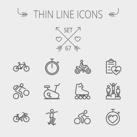 Sports thin line icon set for web and mobile. Set includes- stopwatch, skatboeard, bicycle, mountain bike, motorbike, roller skate, heart and time, winners icons. Modern minimalistic flat design. Vector dark grey icon on light grey background. Vector