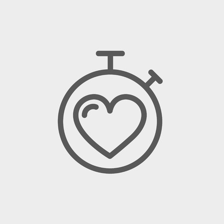 Heart time icon thin line for web and mobile, modern minimalistic flat design. Vector dark grey icon on light grey background. Vector