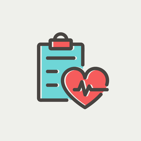 Heartbeat record icon thin line for web and mobile, modern minimalistic flat design. Vector icon with dark grey outline and offset colour on light grey background.