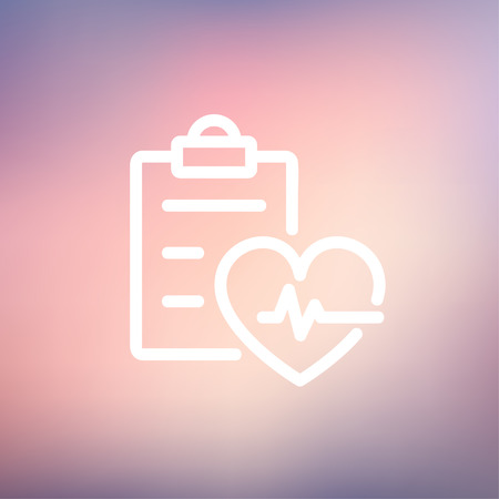 taking pulse: Heartbeat record icon thin line for web and mobile, modern minimalistic flat design. Vector white icon on gradient mesh background. Illustration
