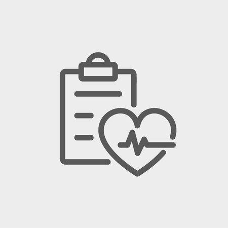 Heartbeat record icon thin line for web and mobile, modern minimalistic flat design. Vector dark grey icon on light grey background.