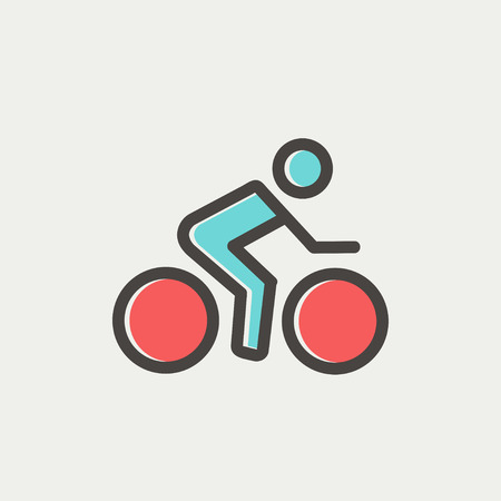 lenticular: Sport bike and rider icon thin line for web and mobile, modern minimalistic flat design. Vector icon with dark grey outline and offset colour on light grey background.