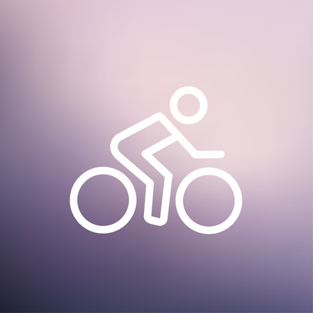 lenticular: Sport bike and rider icon thin line for web and mobile, modern minimalistic flat design. Vector white icon on gradient mesh background. Illustration