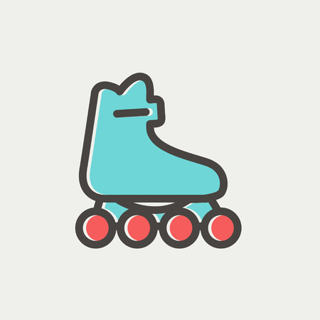 Roller skate icon thin line for web and mobile, modern minimalistic flat design. Vector icon with dark grey outline and offset colour on light grey background.