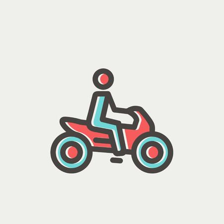 a two wheeled vehicle: Motorbike icon thin line for web and mobile, modern minimalistic flat design. Vector icon with dark grey outline and offset colour on light grey background. Illustration