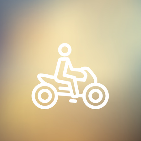 a two wheeled vehicle: Motorbike icon thin line for web and mobile, modern minimalistic flat design. Vector white icon on gradient mesh background.