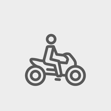 a two wheeled vehicle: Motorbike icon thin line for web and mobile, modern minimalistic flat design. Vector dark grey icon on light grey background.